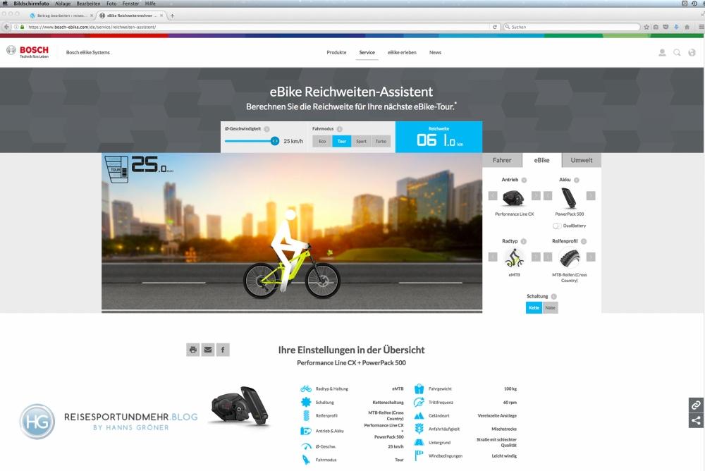 Bosch eBike Reichweitenassistent Screenshot