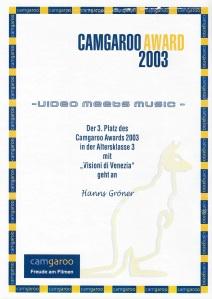 Camgaroo Award Urkunde 2003 Video meets Music
