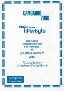 Camgaroo Award Urkunde 2006 Video meets Lifestyle