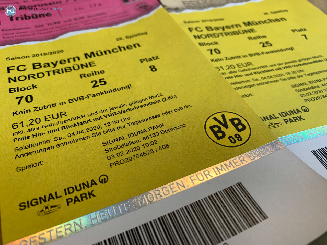 Stadionticket Dortmund - Bayern 2020 (Foto: Hanns Gröner)