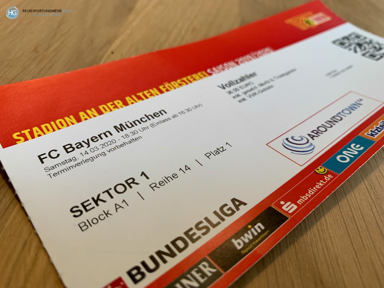 Stadionticket Union Berlin - Bayern 2020