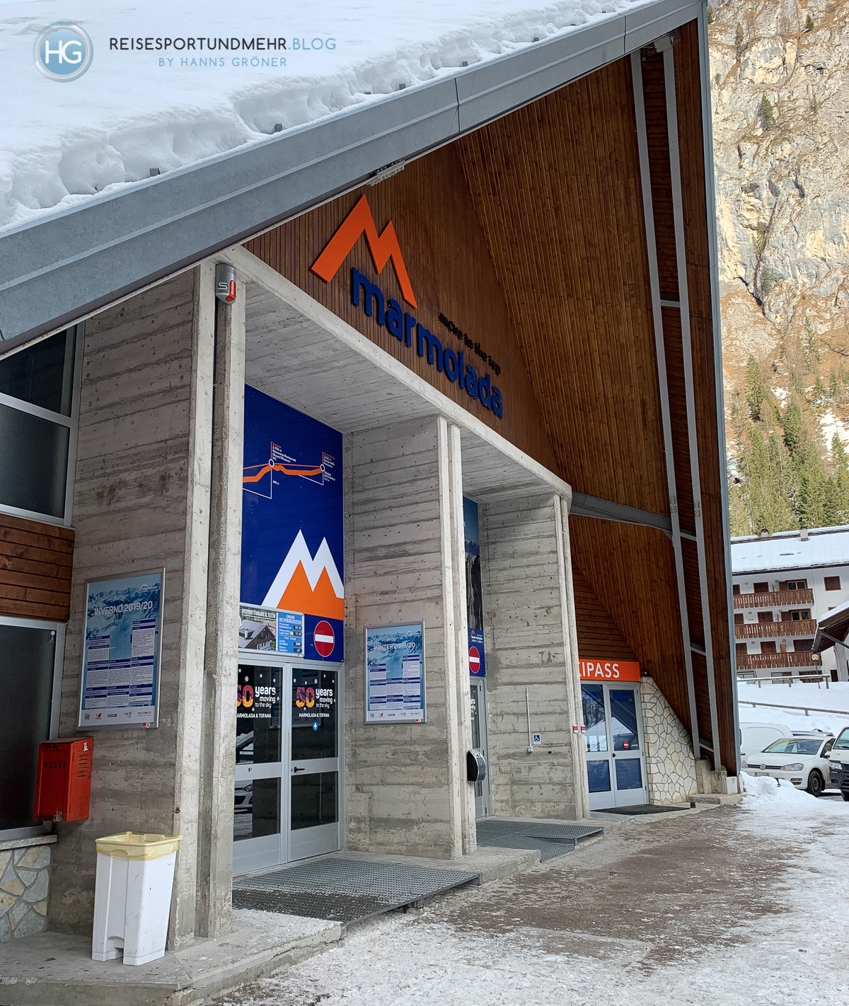 Dolomiten im Dezember 2019 - Marmolada Talstation (Foto: Hanns Gröner)