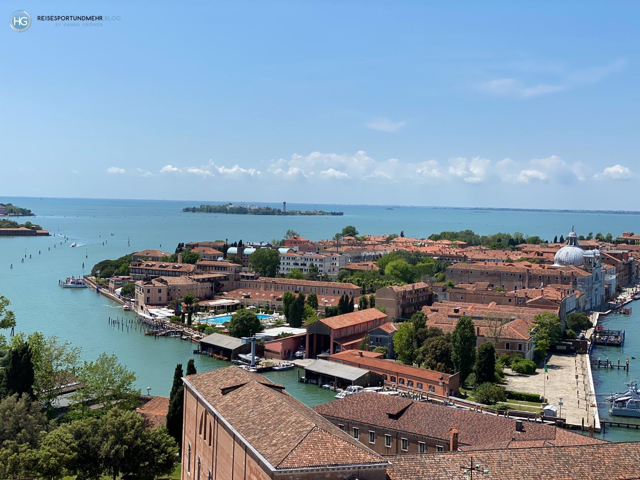 Venedig Pfingsten 2021 - wunderbare Aussicht vom Glockenturm San Giorgio Richtung Giudecca und das Hotel Cipriani (Foto: Hanns Gröner)
