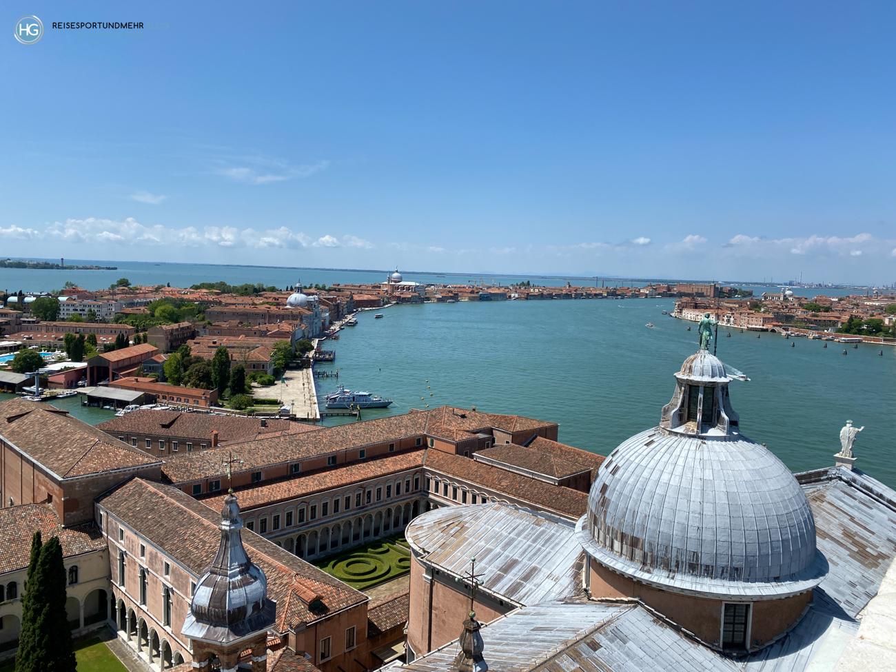 Venedig Pfingsten 2021 - wunderbare Aussicht vom Glockenturm San Giorgio Richtung Giudecca (Foto: Hanns Gröner)