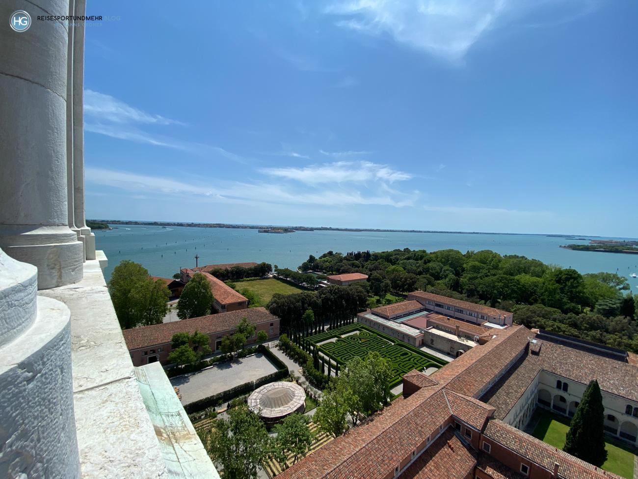 Venedig Pfingsten 2021 - wunderbare Aussicht vom Glockenturm San Giorgio Richtung Lido (Foto: Hanns Gröner)
