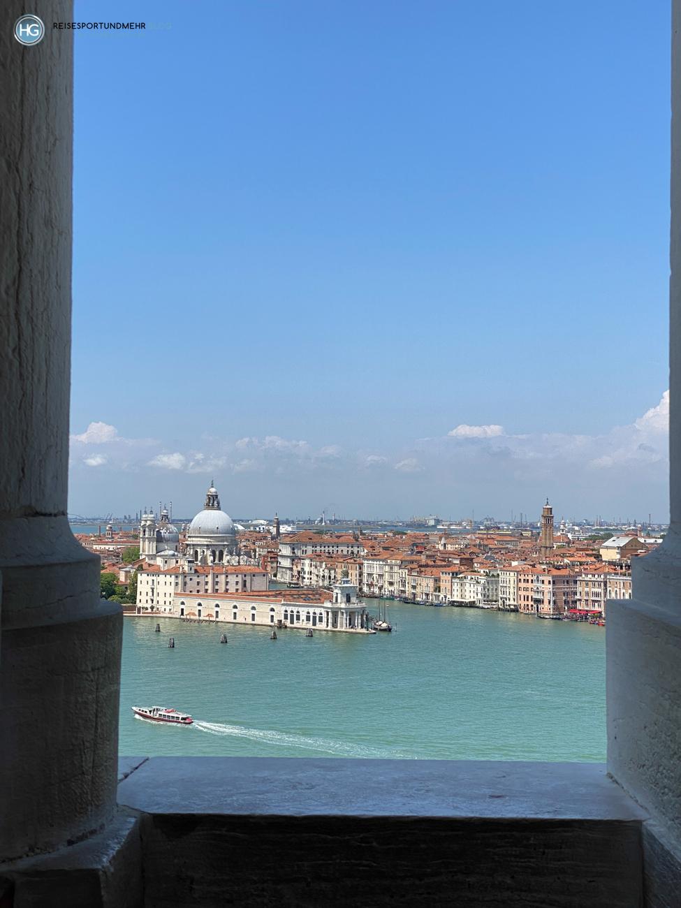 Venedig Pfingsten 2021 - wunderbare Aussicht vom Glockenturm San Giorgio Richtung Santa Maria della Salute (Foto: Hanns Gröner)