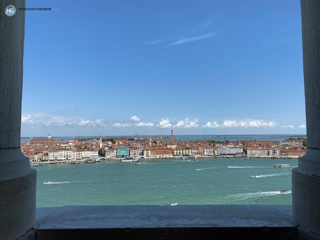 Venedig Pfingsten 2021 - wunderbare Aussicht vom Glockenturm San Giorgio Richtung Pietá und Murano (Foto: Hanns Gröner)