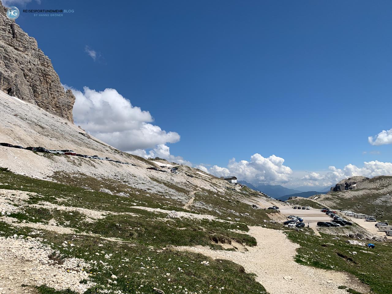 Dolomiten 2020 - Drei Zinnen - Parkplatz nahe Rifugio Auronzo (Foto: Hanns Gröner)